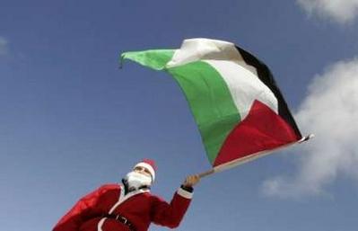 Santa in Nonviolent protest in BethlehemPalestine